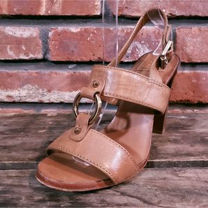 Tory Burch Tan Leather Heeled Two Strap Sandals